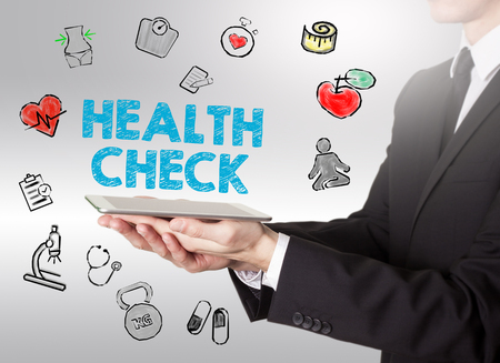 healty: Health Check concept. Healty lifestyle background. Man holding a tablet computer.