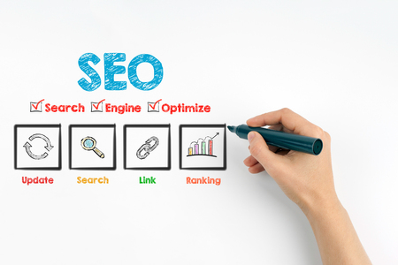 SEO concept. Marker with human hand on a white background.