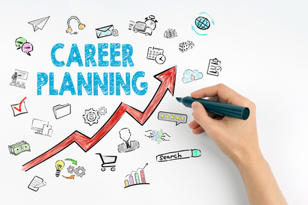 Career Planning Business Concept. Hand with marker writing.