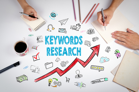 Keywords Research Business Concept. The meeting at the white office table.