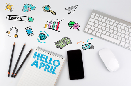Hello april. Office desk table with computer and Smartphone
