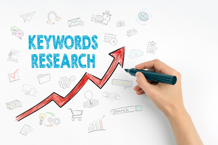 Hand with marker writing - Keywords Research Business Concept.