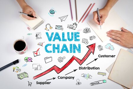 Value chain Business Concept. The meeting at the white office table.