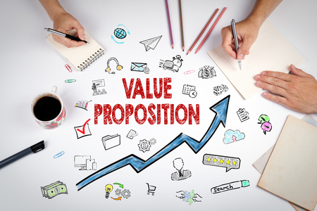 Value Proposition Concept. The meeting at the white office table.