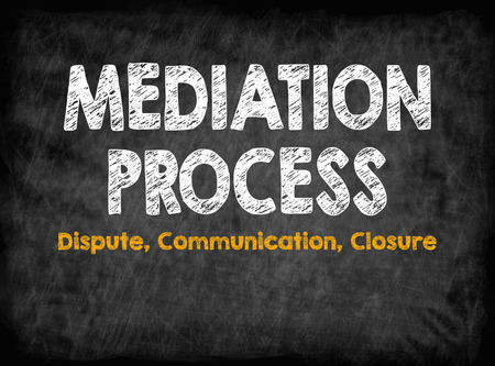 Mediation Process concept. Dispute Communication Closure. Black board with texture, background. Stok Fotoğraf