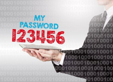 private security: Internet password security concept. Binary code with text. Man holding a tablet computer.