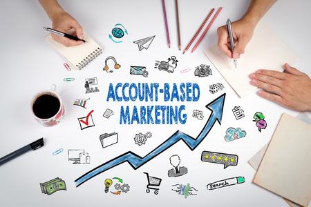 Account Based Marketing Concept. sleutelwoorden en pictogrammen op een witte achtergrond. Stockfoto