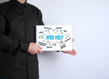 Free space for text, marketing education and business information. Man with a notebook on white background.