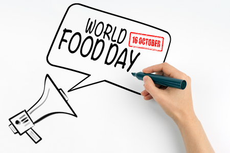 16: World Food Day 16 october. Megaphone and text on a white background.