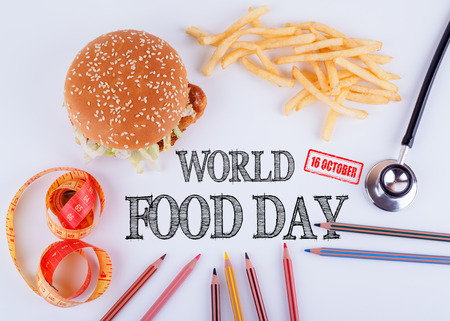 World Food Day 16 october. Healthy diet, lifestyle, body and mental health concept. Stock Photo