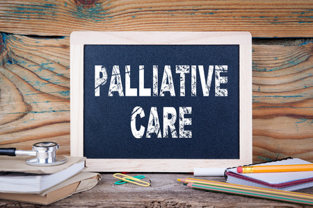 Palliative care. health and safety. Chalk board Background. Stock Photo