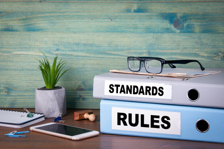 standards and rules concept. Successful business, law and profit background.