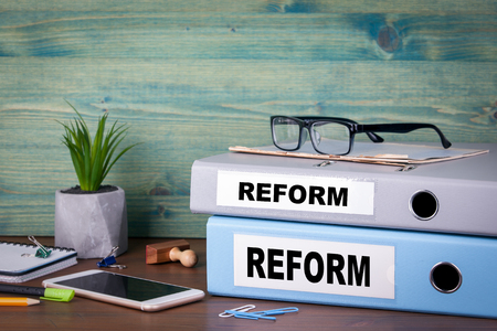 reform concept. taxes education and medical background.