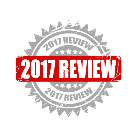 2017 review stamp. informative illustration, advertising and marketing background. Stock Photo