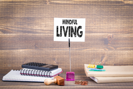 Mindful living concept. Wooden table with stationery Stock Photo