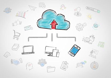 Cloud technology concept. Chart with keywords and icons on gray background. Stok Fotoğraf - 96836088
