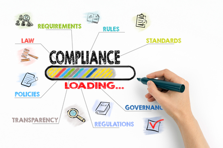 Compliance Concept. Chart with keywords and icons on white background. Stock Photo