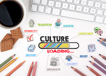 Culture concept. Chart with keywords and icons. White office desk