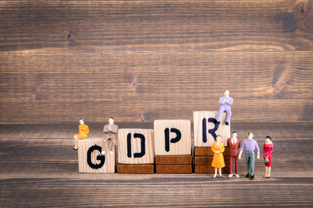 GDPR. General Data Protection Regulation. Cyber security and privacy concept. Wooden letters on the office desk, informative and communication background 写真素材
