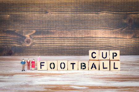 Football 2018 world championship cup, soccer. Wooden letters on the office desk, informative and communication background Foto de archivo