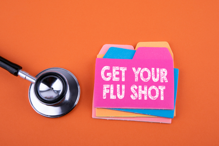 Get Your Flu Shot, Health Concept. Paper note with text
