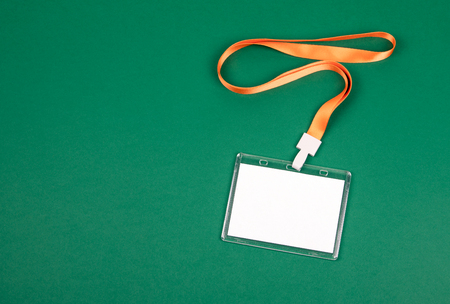 White empty staff identity mockup with orange lanyard. Name tag, ID card