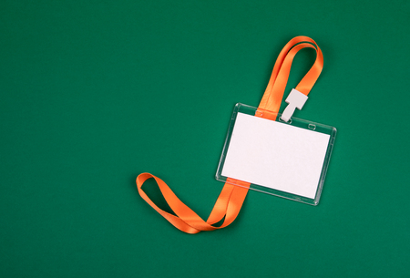 White empty staff identity mockup with orange lanyard. Name tag, ID card