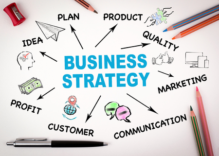 Business strategy, investment Concept. Chart with keywords and icons on white desk with stationery Imagens