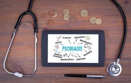 Psoriasis concept. Chart with keywords and icons. Text on tablet device on a wooden table Stok Fotoğraf