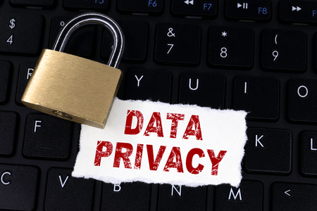 Data Privacy. Locked padlock on computer keyboard. Cyber safety concept. GDPR. General Data Protection Regulation