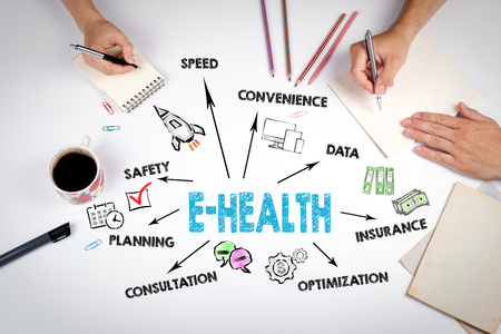 E-health concept. Chart with keywords and icons. The meeting at the white office table