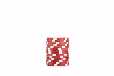 red casino chip isolated on white background