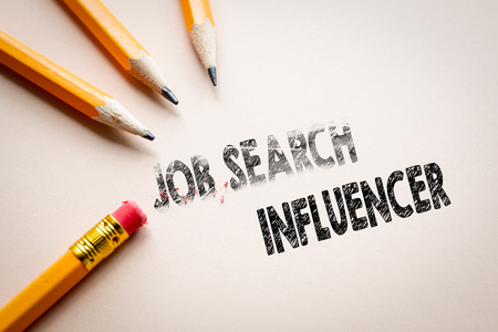 Making job search in to influencer by eraser. Social media and digital marketing. Pencils on the table 版權商用圖片