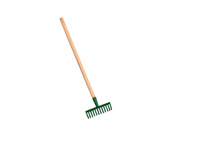 Small gardening rake isolated on white background 스톡 콘텐츠