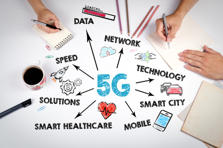 5g tehnology concept. Chart with keywords and icons. The meeting at the white office table