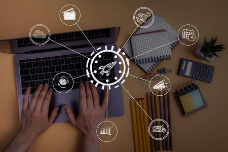 Digital marketing, social media and Internet speed, development concept. Hands on laptop doing business Reklamní fotografie