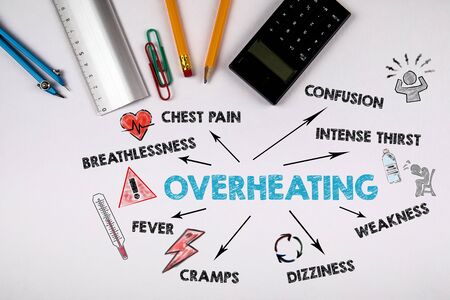 Overheating, health concept. Chart with keywords and icons. Top view office desk with pencil, circus and calculator on white color background