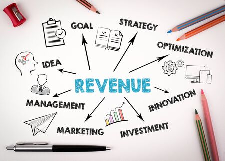 Revenue Concept. Chart with keywords and icons on white desk with stationery Stock Photo