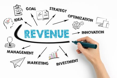 Revenue Concept. Chart with keywords and icons on white background Stock Photo