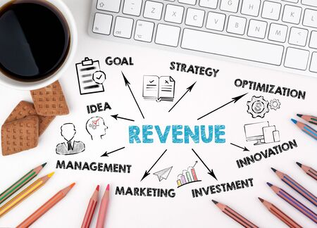 Revenue Concept. Chart with keywords and icons. White office desk