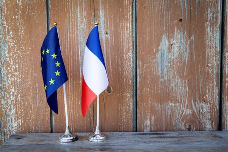 Flag of France and the European Union. Politics, Social Equality and Economy Concept Stockfoto