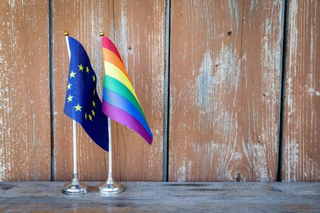 Rainbow and European Union flags. LGBT community, freedom and love concept
