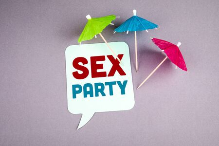 Sex Party. Speech bubble on a gray background