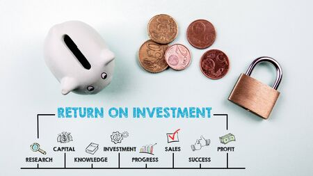 Return on Investment Concept. Chart with keywords and icons. Piggy bank on green background