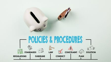 Policies and Procedures Concept. Chart with keywords and icons. Piggy bank on green background