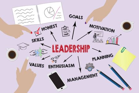 Leadership Concept. Chart with keywords and icons. Illustration, business background Banque d'images - 129158120