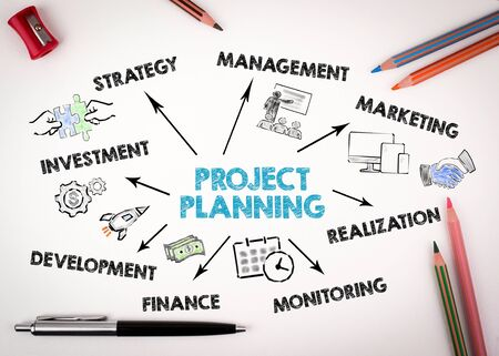 Project Planning Concept. Chart with keywords and icons on white desk with stationery