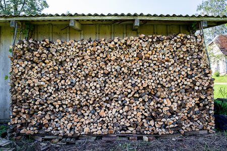 Background of dry chopped firewood logs in a pile. Preparation for the winter season, fossil fuels