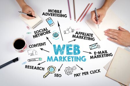 Web marketing Concept. Chart with keywords and icons, meeting at the white office table