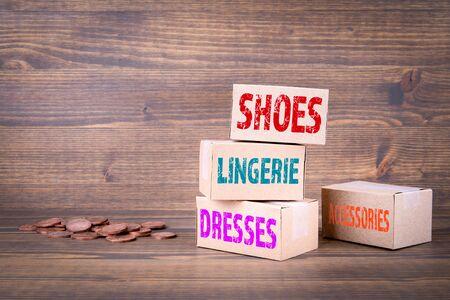 Shoes lingerie dresses and accessories. Online shopping concept 免版税图像